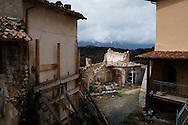 Castelnuovo, Italia - 31 marzo 2013. Una veduta del paese di Castelnuovo, piccola frazione a meno di 10 km dall'Aquila completamente rasa al suolo dal sismo del 6 aprile 2009..Ph. Roberto Salomone Ag. Controluce