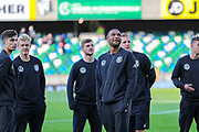 German players on the pitch ahead of the UEFA European 2020 Qualifier match between Northern Ireland and Germany at National Football Stadium, Windsor Park, Northern Ireland on 9 September 2019.