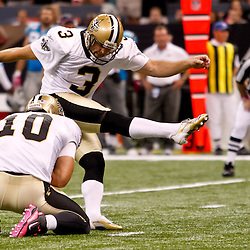 October 3, 2010; New Orleans, LA, USA; New Orleans Saints kicker John Carney kicks a field goal during the second half against the Carolina Panthers at the Louisiana Superdome. The Saints defeated the Panthers 16-14. Mandatory Credit: Derick E. Hingle