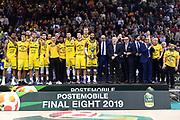 Happy Casa New Basket Brindisi premiazione<br /> Vanoli Cremona - Happy Casa New Basket Brindisi<br /> Postemobile Final Eight - Finale<br /> Legabasket 2018/2019<br /> Firenze, 17/02/2019<br /> Foto M.Ceretti / Ciamillo-Castoria