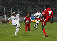 Photo: Steve Bond/Richard Lane Photography.<br />Sudan v Zambia. Africa Cup of Nations. 22/01/2008. Ian Bakala (L) gets a cross in in front of Ahmed Alaedin (R)
