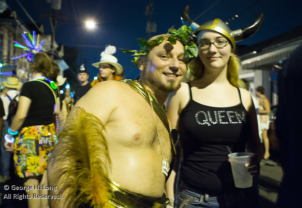 Queeen Alexa Ballard and King Frenchy celebrate 19th Annual Midsummer Mardi Gras with the Krewe of O.A.K. at the Maple Leaf Bar; While many New Orleanians had already evacuated for Hurricane Katrina, Mid-Summer Mardi Gras revelers of the Krewe of Oak partied at the Maple Leaf Bar on Oak Street.  August 27, 2005