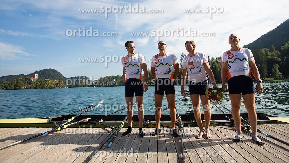Iztok Cop with Jüri Jaanson, Vaclav Chalupa and Davor Mizerit during rowing at Slovenian National Championship and farewell of Iztok Cop, on September 22, 2012 at Lake Bled, Ljubljana Slovenia. (Photo By Matic Klansek Velej / Sportida)
