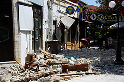July 21, 2017 - Kos Island, Greece - A damaged structure sits on the ground after an earthquake in Kos on the island of Kos. Greek authorities said two tourists killed in the overnight quake are from Turkey and Sweden (Credit Image: © Eurokinissi via ZUMA Wire)