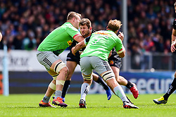 Alec Hepburn of Exeter Chiefs is tackled by Chris Robshaw of Harlequins - Mandatory by-line: Ryan Hiscott/JMP - 27/04/2019 - RUGBY - Sandy Park - Exeter, England - Exeter Chiefs v Harlequins - Gallagher Premiership Rugby