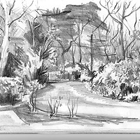 Sketchbook drawing of home drive and garden, West Sussex.