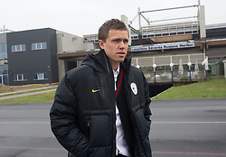 Josip Ilicic at departure of Slovenia's National football team to Belfast, Northern Ireland for EURO 2012 Quaifications game between National teams of Slovenia and Northern Ireland, on March 28, 2011, at Airport Edvard Rusjan, Maribor, Slovenia.  (Photo by Vid Ponikvar / Sportida)