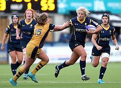 Alexia Mavroudis of Worcester Valkyries hands off Chantelle Miell of Bristol Ladies - Mandatory by-line: Robbie Stephenson/JMP - 24/09/2016 - RUGBY - Sixways - Worcester, England - Worcester Valkyries v Bristol Ladies Rugby - RFU Women's Premiership