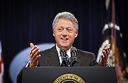 President Clinton smiles as he answers a question during a press conference at the White House June 25, 1999. Clinton called on Congress to work with him in passing legislation where the two political parties have common ground now that the conflict in Kosovo has been resolved.