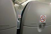 Seating on the Boeing-manufactured 787 Dreamliner (N787BX) at the Farnborough Airshow.