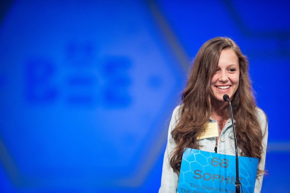 Sophie Bergman, 14, of Bettendorf, Iowa, participates in round two of the preliminaries of the Scripps National Spelling Bee on May 28, 2014 at the Gaylord National Resort and Convention Center in National Harbor, Maryland.