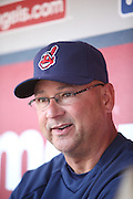 ANAHEIM, CA - APRIL 30:  Manager Terry Francona #17 of the Cleveland Indians talks to the media in the dugout before the game against the Los Angeles Angels of Anaheim at Angel Stadium on Wednesday, April 30, 2014 in Anaheim, California. The Angels won the game 7-1. (Photo by Paul Spinelli/MLB Photos via Getty Images) *** Local Caption *** Terry Francona