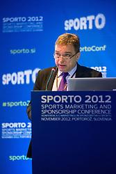 Bojan Ban of NK Maribor during sports marketing and sponsorship conference Sporto 2012, on November 26, 2012 in Hotel Slovenija, Congress centre, Portoroz / Portorose, Slovenia. (Photo By Vid Ponikvar / Sportida.com)