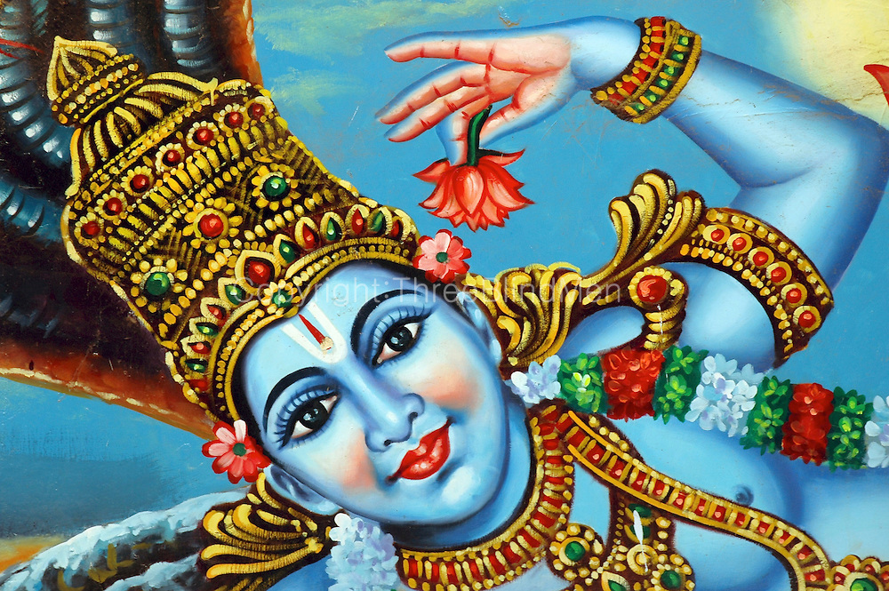 Lord Krishna. Painting at a small temple in South India, near Kanyakumari.