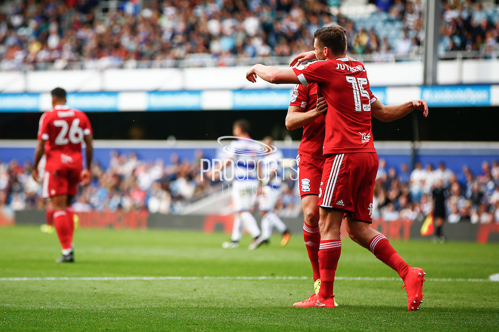 Lukas Jutkiewicz celebrates after scoring Birmingham's first goal 0-1 during the EFL Sky Bet Championship match between Queens Park Rangers and Birmingham City at the Loftus Road Stadium, London, England on 24 September 2016. Photo by Jarrod Moore.