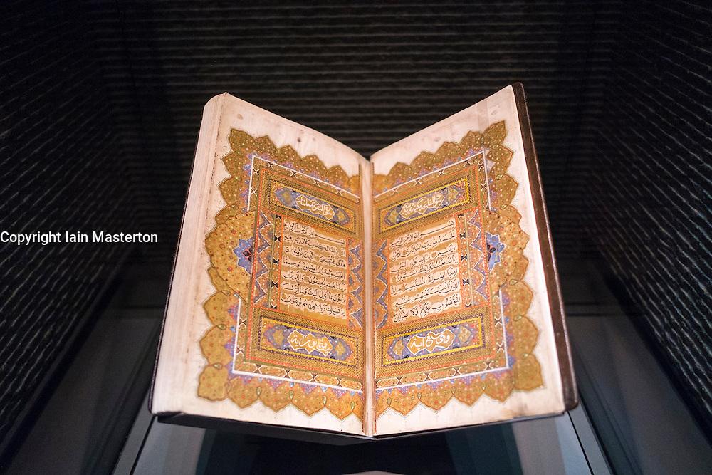 Old Koran on display at  Museum of Islamic Art in Doha Qatar