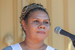 Local Jabirr Jabirr woman Mitch Torres addresses the crowd in Broome at the Broome Families gathering at the Nicholas Emo Centre.