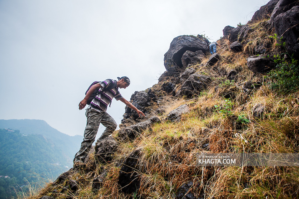 Climbing the famous 'Camel's Back' in Nainital. We took the climbers route though the cliff.