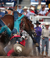 Cowboy in trouble, 2004 Cheyenne Frontier Days Rodeo, Cheyenne WY, July 2004
