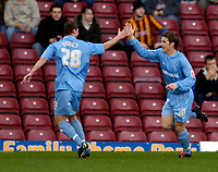Photo: Jed Wee.<br />Bradford City v Tranmere Rovers. The FA Cup.<br />06/11/2005.<br /><br />Tranmere goalscorer Chris Greenacre (R) celebrates with Steve Davies.