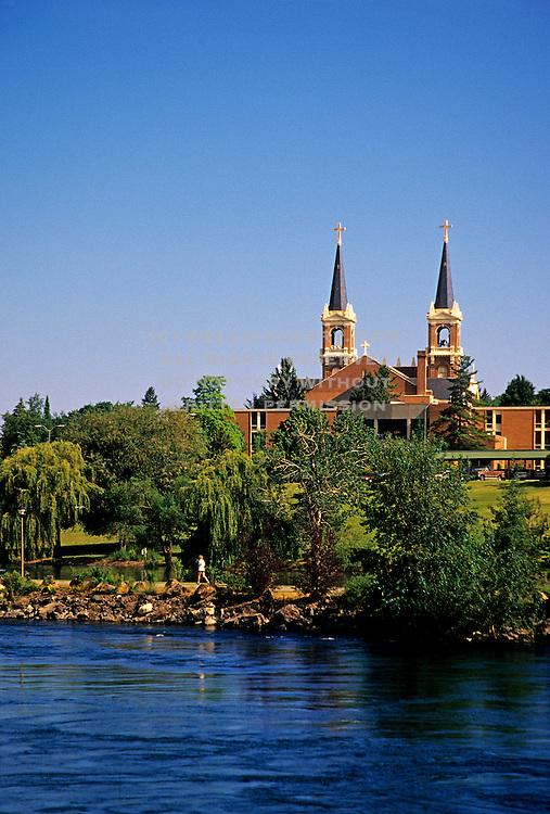 Image of St. Aloysius Church and the Spokane River at Gonzaga University, Spokane, Washington, Pacific Northwest
