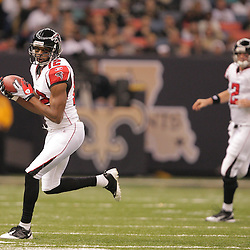 2008 December, 07: Atlanta Falcons wide receiver Michael Jenkins (12) runs after making a catch on a pass thrown by quarterback Matt Ryan (2) during a 29-25 victory by the New Orleans Saints over NFC South divisional rivals the Atlanta Falcons at the Louisiana Superdome in New Orleans, LA.