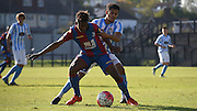 Jason Lokilo protects and shields the ball during the Final Third Development League match between U21 Crystal Palace and U21 Coventry City at Selhurst Park, London, England on 12 October 2015. Photo by Michael Hulf.