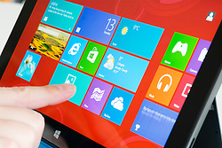Detail of Windows 8 home screen on a Microsoft Surface rt tablet computer