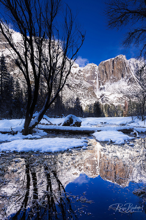 Yosemite Falls reflection in winter, Yosemite National Park, California USA