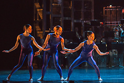 "© Licensed to London News Pictures. 12/05/2015. London, England. L-R: Antonia Hewitt, Lucy Balfour and Vanessa Kang. Rambert Dance Company perform the World Premiere of ""Dark Arteries"" by Mark Baldwin as part of a triple bill at Sadler's Wells Theatre. Rambert perform with the Tredegar Town Band and the Rambert Orchestra from 12 to 16 May 2015. Photo credit: Bettina Strenske/LNP"