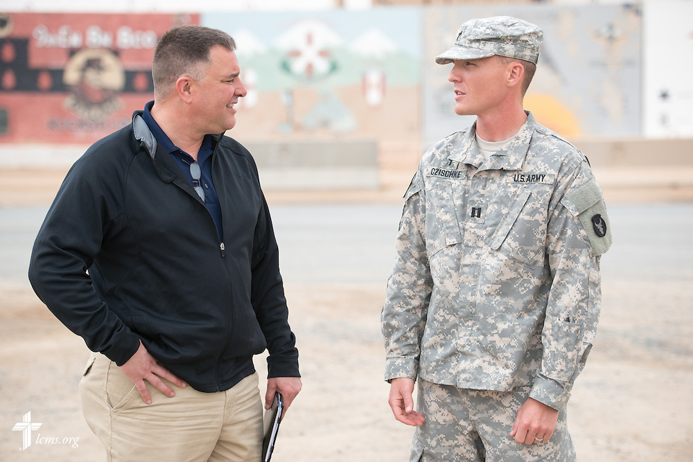 Army Capt. Chad Czischke (right), chaplain, meets with the Rev. Craig G. Muehler, director of the LCMS Ministry to the Armed Forces, during a visit Sunday, March 22, 2015, at Camp Buehring in Kuwait. LCMS Communications/Erik M. Lunsford