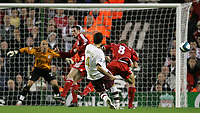 Photo: Paul Thomas.<br /> Liverpool v Arsenal. The FA Barclays Premiership. 28/10/2007.<br /> <br /> Cesc Fabregas (4) of Arsenal has this last minute shot come off the post.