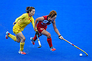 Qiu Guo of China and Heesun Jang of Korea  during the Vitality Hockey Women's World Cup 2018 Pool A match between Korea and China at the Lee Valley Hockey and Tennis Centre, QE Olympic Park, United Kingdom on 29 July 2018. Picture by Martin Cole.