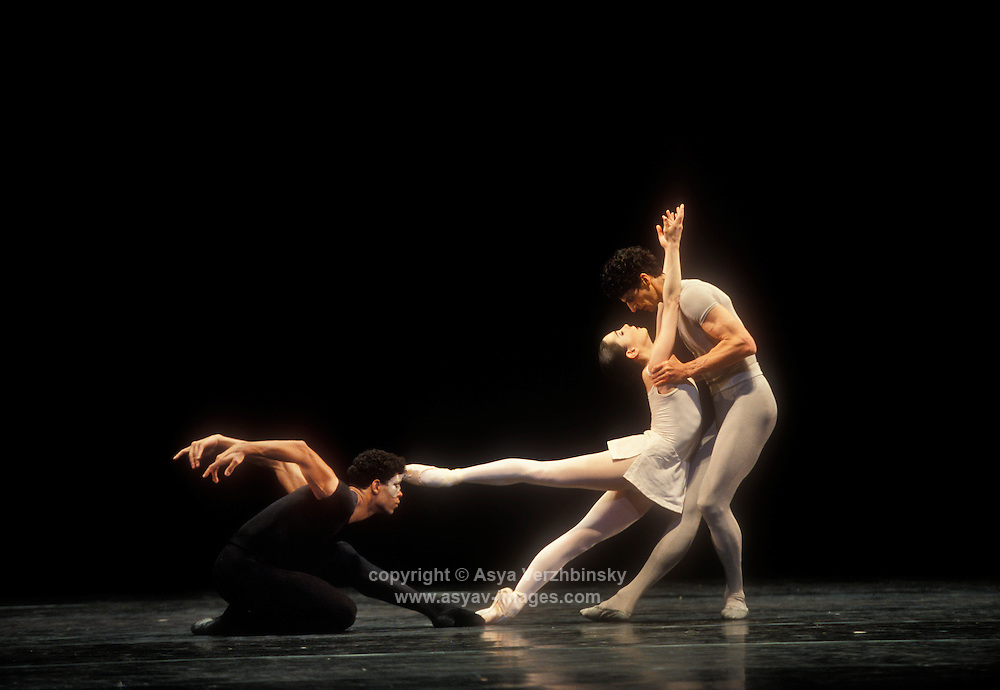 "Tamara Rojo (the woman), Jonathan Cope, and Carlos Acosta (Messenger of Death) in Royal Ballet's production of Sir Kenneth MacMillan's ""Song of the Earth"""