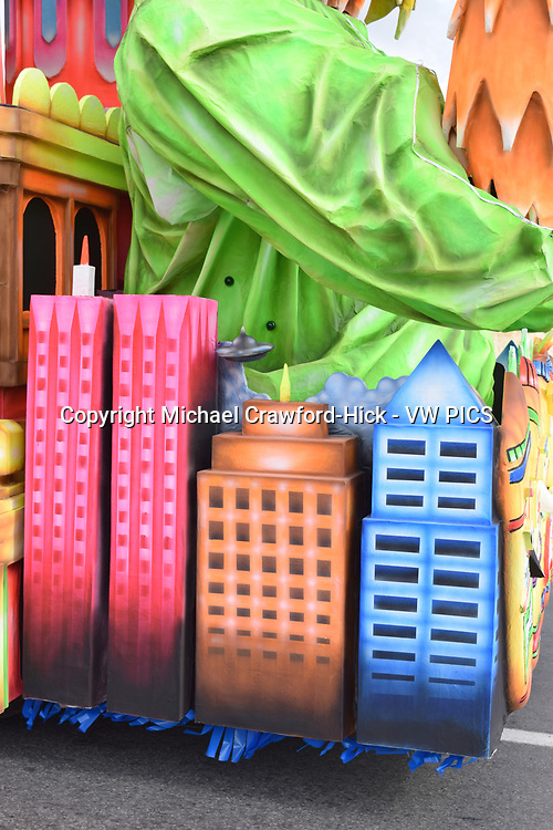 High Rise building on a carnival float