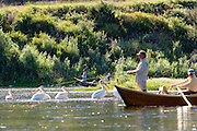 Anglers fly fish on the Missouri River near Wolf Creek, Montana.