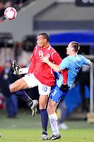 Fotball VM kvalifisering 15.10.2008<br /> FIFA World Cup South Africa Qualifier<br /> Ullevaal Stadium <br /> Norge vs Nederland<br /> Norway vs Netherlands<br /> <br /> Result  0 - 1<br /> <br /> Foto: Robert Christensen Digitalsport<br /> <br /> Norway John Carew <br /> <br /> Netherlands Andre Ooijer