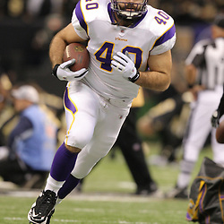 Jan 24, 2010; New Orleans, LA, USA; Minnesota Vikings tight end Jimmy Kleinsasser (40) on the field during warm ups before kickoff of a overtime victory by New Orleans Saints over the Minnesota Vikings in the 2010 NFC Championship game at the Louisiana Superdome. Mandatory Credit: Derick E. Hingle-US PRESSWIRE