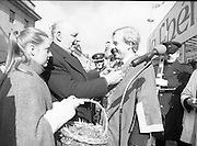 St Patrick's Day Parade.1982.17/03/1982.03.17.1982.17th March 1982..Mr Tom Stafford attaches the Shamrock to the gown of the Lord Mayor, Mr Fitzgerald.