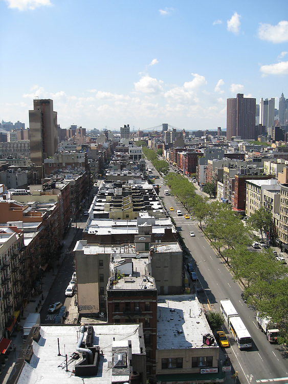 Lower East Side, New York City. In the far distance lies the Brooklyn Bridge.