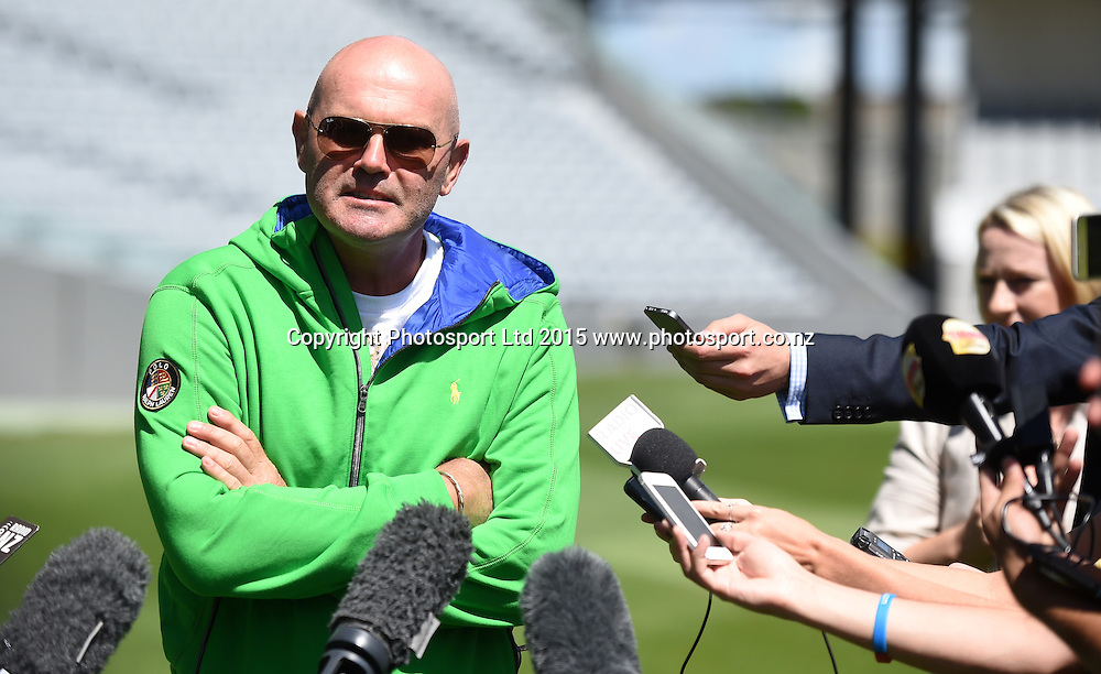 Former New Zealand Cricket captain Martin Crowe during a media briefing at Eden Park talking about his health issues and his views on the upcoming ICC Cricket World Cup. Eden Park, Auckland, New Zealand. Wednesday 7 January 2015. Copyright photo: Andrew Cornaga/www.photosport.co.nz