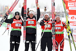 11.12.2011, Biathlonzentrum, Hochfilzen, AUT, E.ON IBU Weltcup, 2. Biathlon, Hochfilzen, Staffel Herren, im Bild Jubel beim Siegerteam Brattsveen Rune (Team NOR) Berger Lars (Team NOR) Svendsen Emil Hegle (Team NOR) Boe Tarjei (Team NOR) // during Team Relay E.ON IBU World Cup 2th Biathlon, Hochfilzen, Austria on 2011/12/11. EXPA Pictures © 2011. EXPA Pictures © 2011, PhotoCredit: EXPA/ nph/ Straubmeier..***** ATTENTION - OUT OF GER, CRO *****