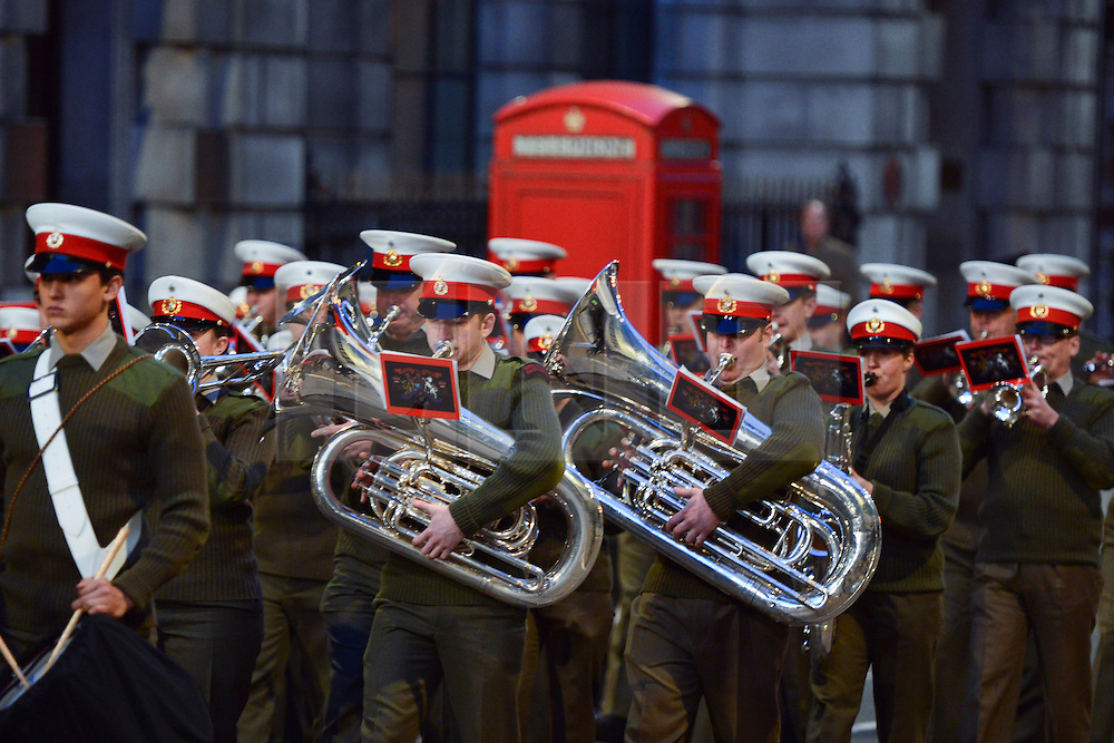 © Licensed to London News Pictures. 15/04/2013. London, UK Military bands make their way along Fleet Street. A full rehearsal of the funeral of former British Conservative Prime Minster Baroness Thatcher takes place in central London. Hundreds of members of the armed forces drawn from all three services took part in the practice in the early hours of 15th April 2013. Photo credit : Stephen Simpson/LNP