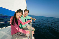 Couple Drinking Wine on Sailboat