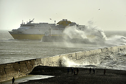 © Licensed to London News Pictures. 03/01/2018. Newhaven, UK.  Transmanche cross-channel ferry entering Newhaven port in tricky conditions as Storm Eleanor passes.  Photo credit: Peter Cripps/LNP