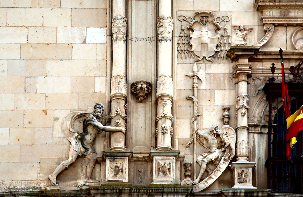 Detail of the facade of the College of San Ildefonso, Alcala Henares, an example of the Spanish Plateresque architectural style of the 16th century.  The building opened in 1506.