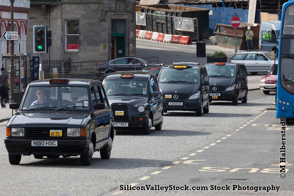 Row of Taxis, Edinburgh, Scotland, United Kingdom, Europe