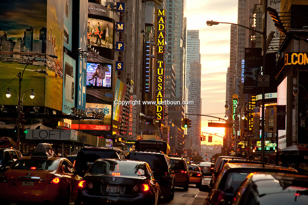 New York Times square, 42nd street , in the Background , the Chrysler building  New york - United states  Manhattan