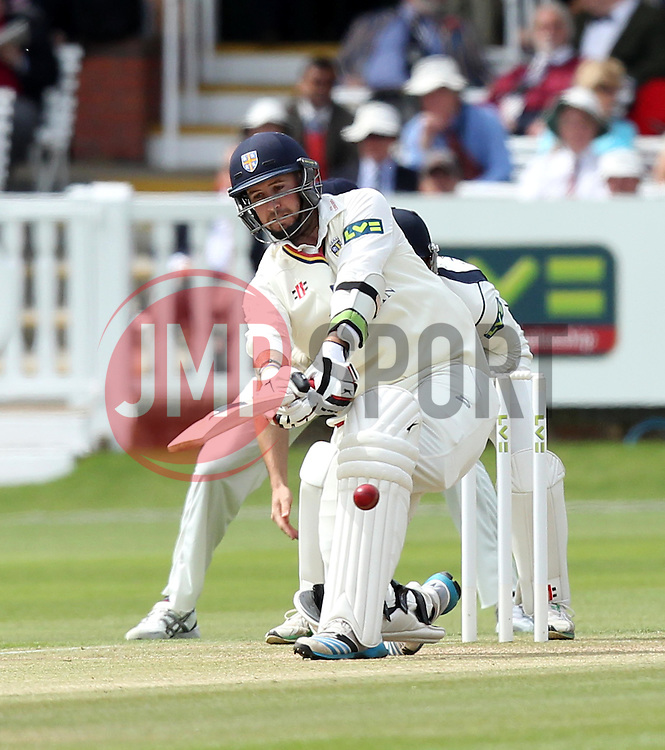 Durham's Chris Rushworth sweeps - Photo mandatory by-line: Robbie Stephenson/JMP - Mobile: 07966 386802 - 04/05/2015 - SPORT - Football - London - Lords  - Middlesex CCC v Durham CCC - County Championship Division One