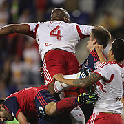 Jamison Olave, New York Red Bulls, heads wide during the New York Red Bulls Vs Chicago Fire, Major League Soccer regular season match won 5-4 by the Chicago Fire at Red Bull Arena, Harrison, New Jersey. USA. 10th May 2014. Photo Tim Clayton